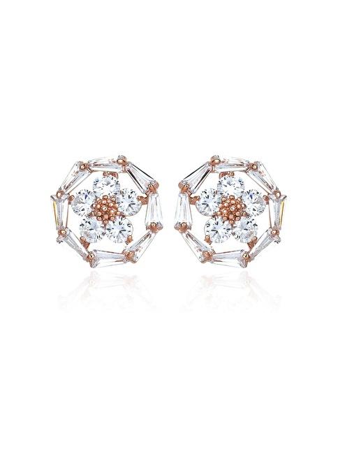 Tophills Diamond Co. 2,50 Ct Pırlanta Efekt Altın Daisy Trapes Roz Küpe Renkli